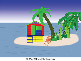 beach hut on island - secluded beach hut on tropical island