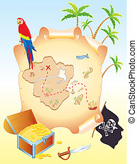 Pirate's treasure with parrot and palms. Vector cartoons map