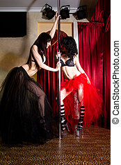 Stripper girls dancing together at the pole