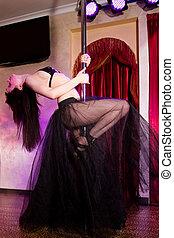 poteau, strip-teaseuse, déguisement,  girl, danse