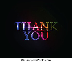 Thanks you colorful text with used text design, vector...