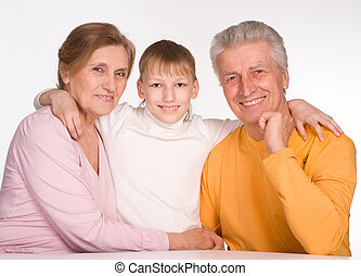grandson with his grandparents - happy grandson with his...