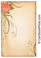 Floral vintagel background.Old paper scroll with pink rose -...