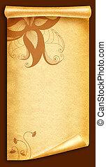 Floral vintage background.Old paper scroll