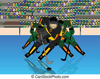 Front view of a player playing ice hockey