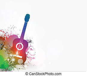 Grunge guitar design - Music notes with guitar player for...