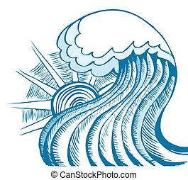 Abstract sea wave Vector illustration of blue sea - Abstract...
