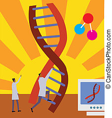 Side view of men climbing on DNA ladder