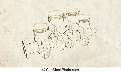 cranck shaft old 01 - engine pistons and cog sketch on old...