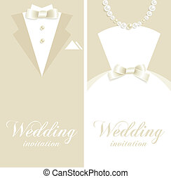 Wedding invitation - Wedding backgrounds with tuxedo and...