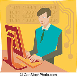 Businessman working on flat screen computer