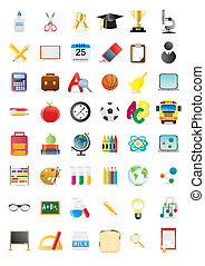 school objects - Vector illustration of school objects, big...