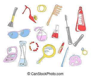 cosmetic objects - Collection of cosmetic objects and...