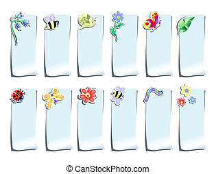 summer-stickers - Vector illustration of blue stickers with...