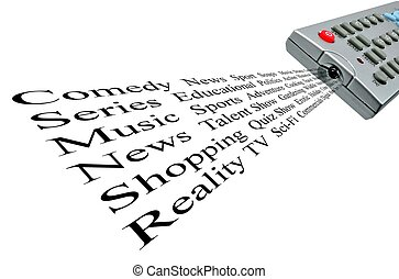 Whats on the television - TV remote control word cloud of...