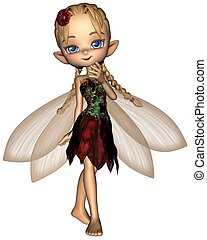 Cute Toon Fairy in Green and Red Fl - Cute toon fairy in a...