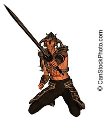 Demon Warrior - 1 - Demon warrior with sword, 3d digitally...