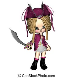 Cute Toon Pirate - female - Cute toon pirate girl, 3d...