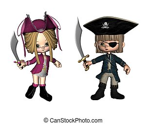 Cute Toon Pirates - Two cute toon pirates, 3d digitally...