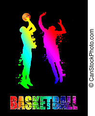 Basketball players jumping with ball. Vector illustration.