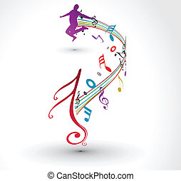 musical notes background - A man dance with musical notes...