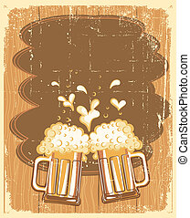 Glasses of Beer background.Vector grunge Illustration for...