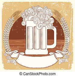 Beer symbolVector vintage graphic Illustration of glass with...