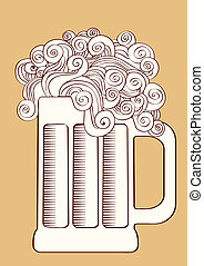Beer.Vector graphic  Illustration of glass .