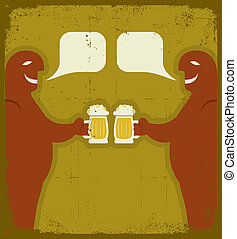 Two men with glasses of beer who toast.Grunge - Two men with...