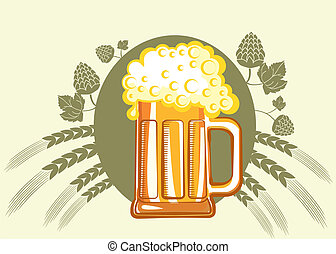 Glasses of beerVector color symbol of Illustration for...