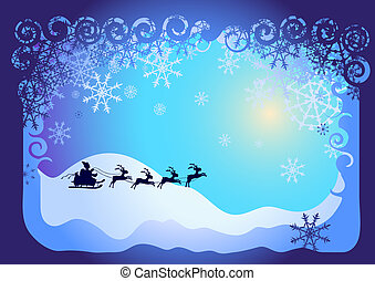 Santa Claus in sled - Vector illustration of Christmas card:...