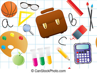schoolwork - Vector illustration of educational objects on a...