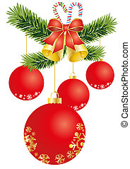 red-balls - Vector illustration of Christmas decoration with...