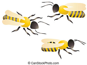 three bees - Vector illustration of three bees or wasps on a...