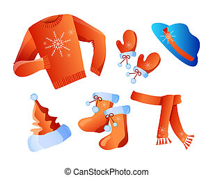 winter clothes - Vector illustration of winter holiday...