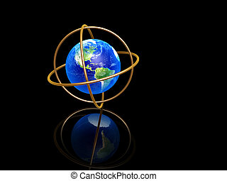 earth with longitude and latitude rings on dark background
