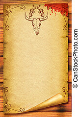 Cowboy old paper background for text with bull skull Retro...