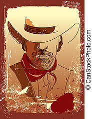 Vector portrait of cowboy.Stronge man in cowboy hat .Grunge...