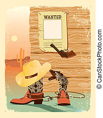 Cowboy West life. Special shoes and gun for cowboy.Grunge...