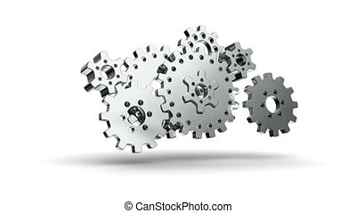 gear metal 04 - gears cogs and pinions isolated on white...