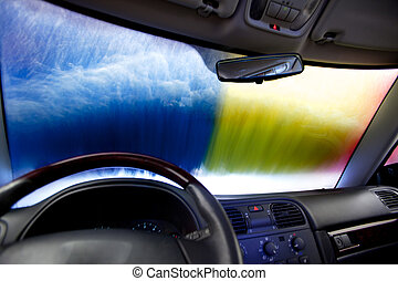 Car Wash Abstract - Interior of a car in an automatic car...