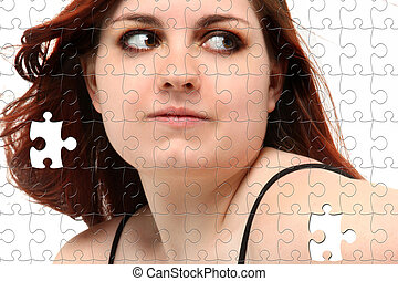 Prom Dress Teen Girl Puzzle - Teen girl in prom dress puzzle...