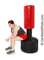 Resting After Workout with Heavy Bag - Attractive 19 year...