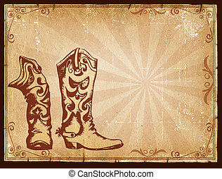Cowboy old paper background for text with decor frame Retro...