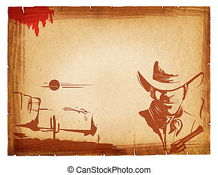 POster with western elements on old paper background.Retro