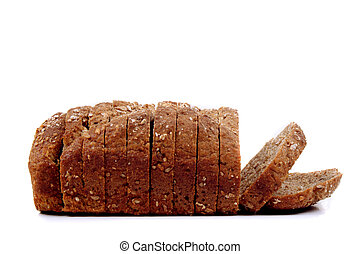 home made soda bread sliced on white background