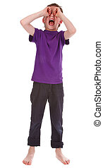 small boy crying against white background