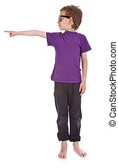 boy on white background is showing the way