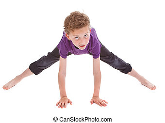 litte boy is trying to make spine on white background