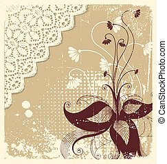 Vintage floral decoration .Flowers background for text